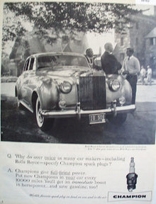 Champion Spark Plug Rolls Royce 1958 Ad