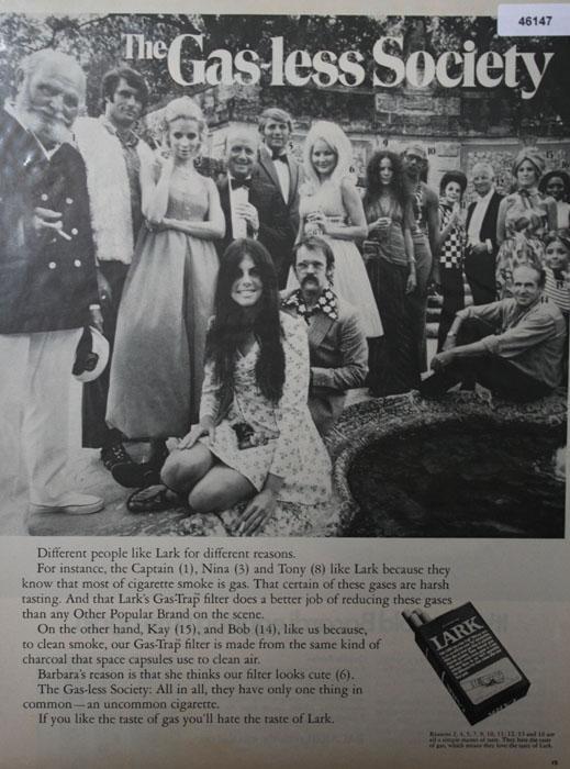 Lark Gas Less Society Cigarette 1970 Ad