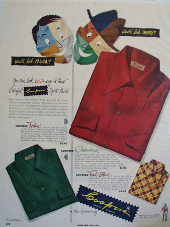 Coopers Mens Shirts Casual Dressy Ad 1949