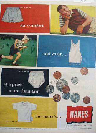 Hanes At A Fair Price Ad 1958