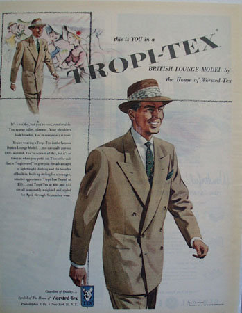 Worsted Tex British Lounge Model Ad 1951