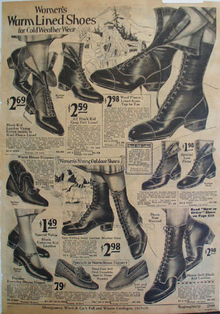 Montgomery Ward Womens Lined Shoes Ad 1925