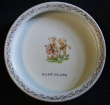 Holstein cow and calf, baby Plate