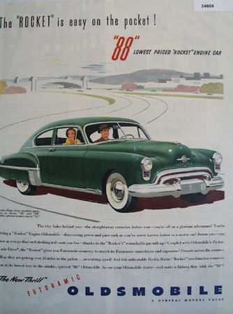 Oldsmobile Futuramic Rocket 88 1949 Ad