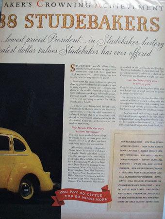 Studebaker President And Commander 1937 Ad