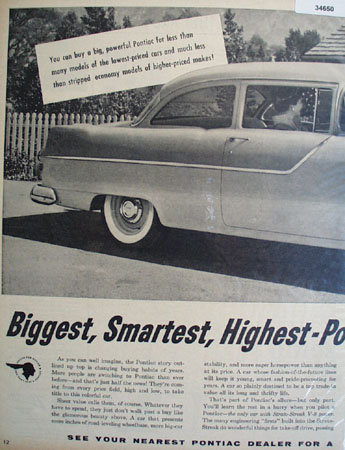 Pontiac Strato Streak V-8 1955 Ad