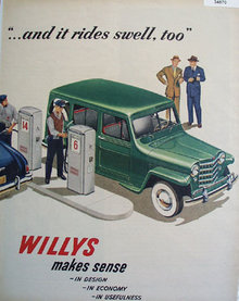 Willys Station Wagon At Gas Pump 1950 Ad