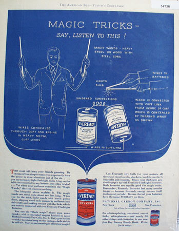 Eveready Flashlight Batteries 1929 Ad