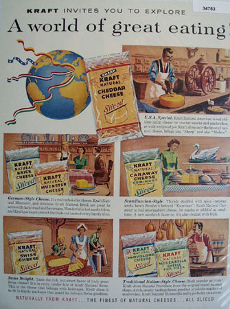 Kraft Cheese Great eating 1958 Ad