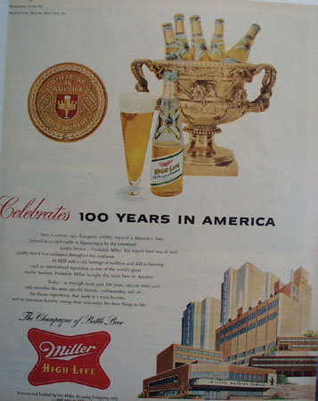 Miller Brewing Co. 100 Years 1955 Ad