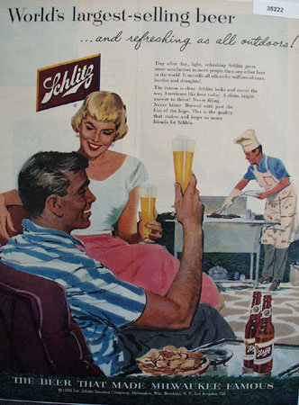 Schlitz Beer Refreshing as All Outdoors 1956 Ad