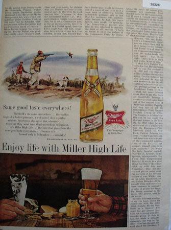 Miller High Life Beer 1961 Ad
