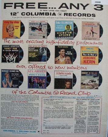 Columbia Record Club 1957 Ad