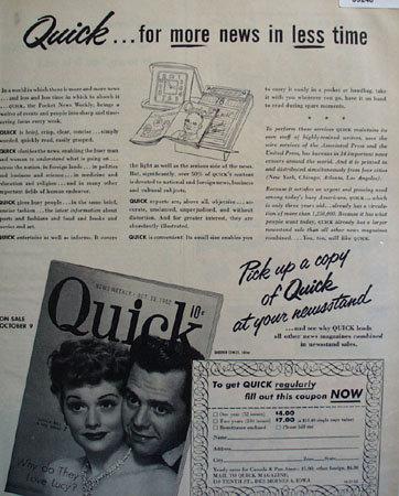 Quick Magazine 1952 Ad