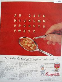 Campbells Alphabet Vegetable Soup 1956 Ad