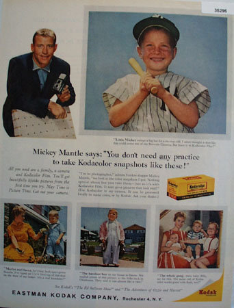 Kodak Kodacolor Film Mickey Mantle 1959 Ad
