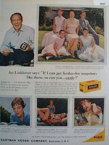 Kodak Kodacolor Film Art Linkletter 1959 Ad