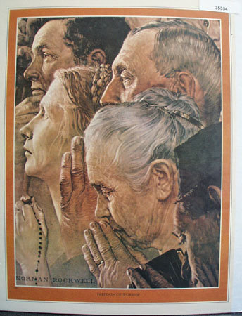 Norman Rockwell Freedom of Worship 1976 Picture
