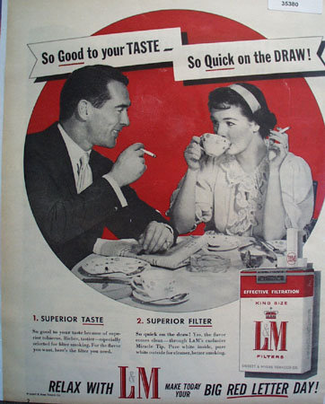 L And M King Size Cigarettes 1956 Ad