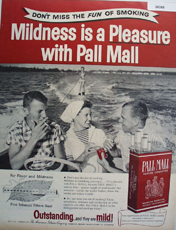 Pall Mall Famous Cigarettes 1956 Ad