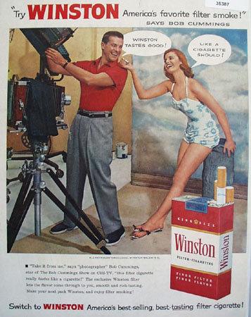 Winston Cigarettes Bob Cummings 1956 Ad