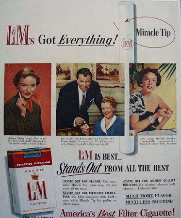 L and M Filter Cigarettes 1955 Ad