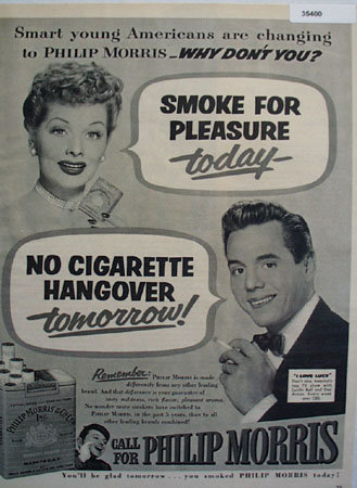 Philip Morris Cigarette Lucy and Dezi 1952 Ad