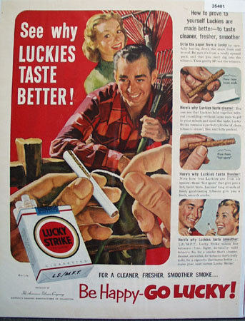 Lucky Strike Its Toasted Cigarettes 1952 Ad