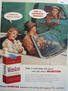 Winston Filter Cigarettes Lorie Trucking 1957 Ad.