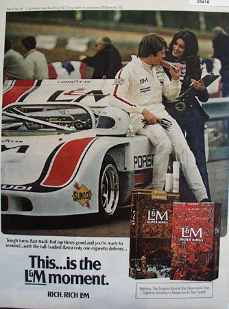 L and M Cigarettes Racing 1972 Ad