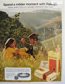 Raleigh Cigarette Mountain Scene 1972 Ad