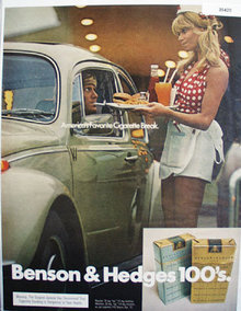 Benson and Hedges 100s Cigarettes 1972 Ad