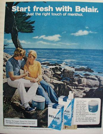Belair Menthol Cigarettes 1972 Ad