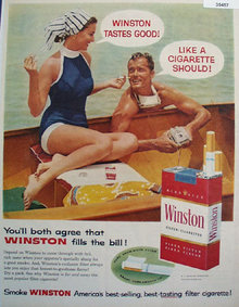 Winston Cigarette Fills the Bill 1957 Ad