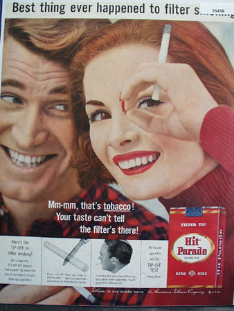 Hit Parade filter Tip Cigarette 1957 Ad