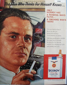 Viceroy Cigarette Thinking Man 1959 Ad