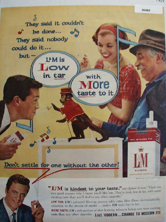 L and M Cigarette James Arness 1959 Ad