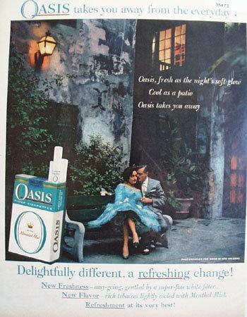 Oasis Cigarette Patio 1959 Ad