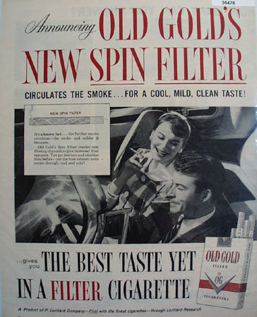Old Gold Cigarette Spin Filter 1958