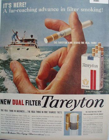 Tareyton Dual Filter Cigarette 1958 Ad.