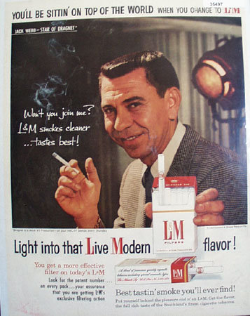 L and M Cigarette Jack Webb 1958 Ad