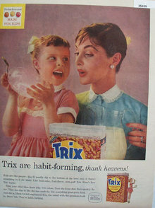 General Mills Trix Fruit Flavored Cereal 1957 ad