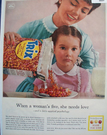 Trix Cereal Made for Kids 1957 Ad