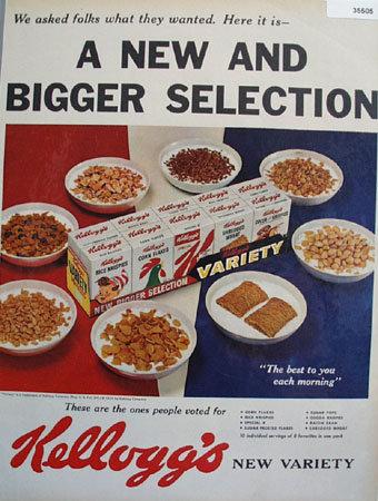kelloggs Bigger Selection Cereal 1959 Ad
