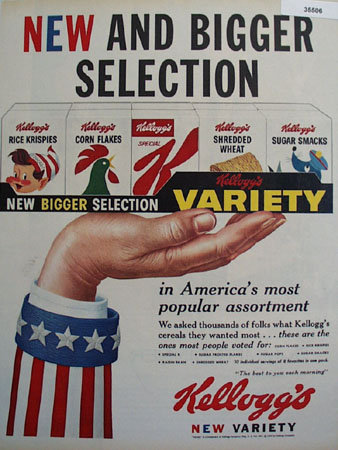 Kelloggs Cereal New Selection 1959 Ad