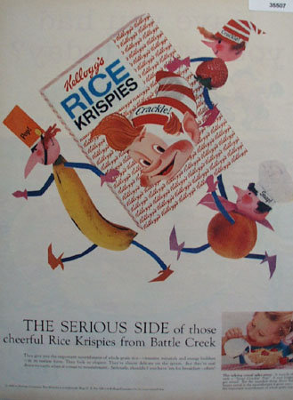 Kelloggs Rice Krispies Snap Crackle Pop 1958 Ad