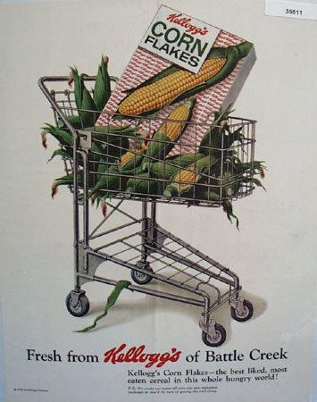 Kelloggs Corn Flakes Fresh Corn 1958 Ad