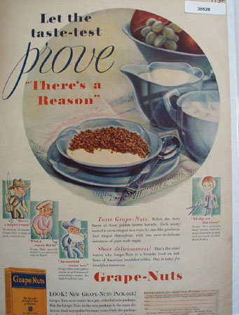 Grape Nuts Taste Test 1930 Ad