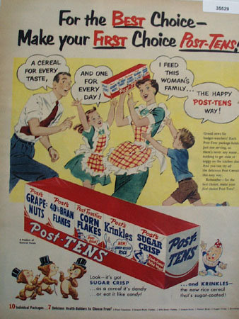 Post Tens Cereal 1953 Ad
