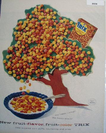 Trix Cereal Tree 1957 Ad.